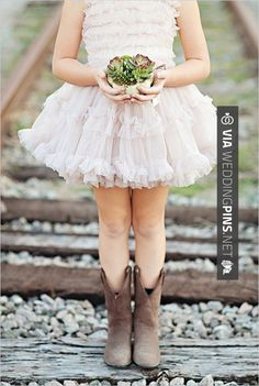 So neat! - flower girl in cowboy boots   CHECK OUT MORE GREAT FLOWER GIRL AND RING BEARER PHOTOS AND IDEAS AT WEDDINGPINS.NET   #weddings #wedding #flowergirl #flowergirls #rings #weddingring #ringbearer #ringbearers #weddingphotographer #bachelorparty #events #forweddings #fairytalewedding #fairytaleweddings #romance