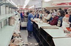Typical grocery store queue in Vilnius, 1990, USSR consumer goods shortage.