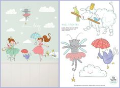 BALLERINA 'PETS' WALL STICKER  Turn your little girl's room into a stylish ballerina studio with this sweet wall stickers of Lotje, Dottie and Pip as ballerina. Add also the wall stickers of ballerina Lisa and Lilly to make the story complete or combine it with the Lisa & Lilly ballerina wallpaper. Use them on the wall or decorate a linen closet, commode or room door with this sweet sticker. The wall stickers are made ​​from high quality matte vinyl and are very easy to apply.