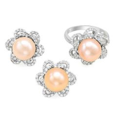 Sterling Silver Pearls and 6.2 CTW Cubic Zirconias Ladies Jewelry Set. Ring Size 7. Length 18 in. Total Item weight 6.4 g. VividGemz. $129.00. Save 85% Off!