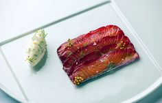 Soy and beetroot marinated salmon with fennel pollen cream | FOUR Magazine