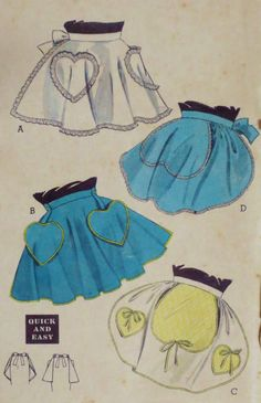 1950s Aprons Pattern Heart Shaped Pockets One Size by linbot1, $12.00