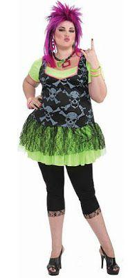 Plus Size 80s Punk Skulls Costume for Ladies