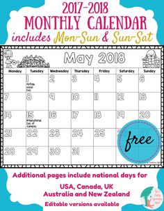 Free 20172018 Monthly Calendar for Kids is part of Organization Calendar Kids - Here's our free 20172018 monthly calendar for kids! It's regularly updated and an editable version is available Lots of uses for kids at school and home Calendar Themes, Calendar May, Monthly Planner Printable, Printable Calendar Template, Planner Template, Summer Calendar, Calendar Numbers, Calendar Journal, Moon Calendar