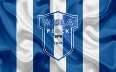 Download wallpapers Wisla Plock FC, 4k, Polish football club, logo, emblem, Ekstraklasa, Polish football championship, silk flag, Plock, Poland