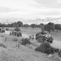 6-pdr anti-tank guns towed by 'Quad' artillery tractors, Tunisia, 5 December 1942.