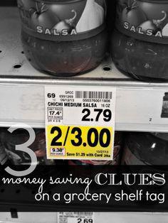 Money Saving Clues on a Grocery Shelf Tag