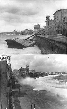 Tormenta en el Malecon en Diciembre de 1957