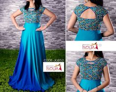 Simple Gown Design, Long Gown Design, Kalamkari Dresses, Ikkat Dresses, Dress Neck Designs, Blouse Designs, Long Gown Dress, Long Frock, Frocks And Gowns