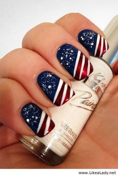 Independence nails | See more nail designs at http://www.nailsss.com/acrylic-nails-ideas/2/