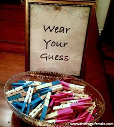 Baby shower gender reveal game. Each person will pick a pin and put their name in a raffle who ever guesses right and is chosen will win a gift. Fun twist to the can't say baby game.