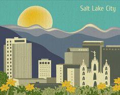 Salt Lake City and LDS Temple Original Illustration, Utah Art Poster Print. $19.99, via Etsy.