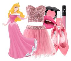 """""""Aurora Disney Prom"""" by mypassionisfashion66 ❤ liked on Polyvore featuring H&M, Essie, NARS Cosmetics, Fiebiger, Moschino and BelliesSets"""