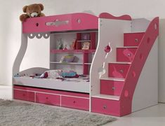 Girl Room, Baby Room, Bunk Bed Designs, Ideas Hogar, Kids Bunk Beds, Childrens Beds, Extra Rooms, Bed Plans, Loft Spaces