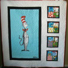 Dr. Seuss Cat in the Hat Baby Quilt Robert Kaufman fabric. $160.00, via Etsy.