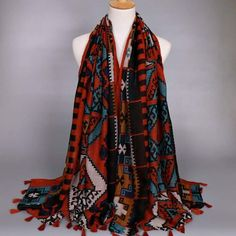 Marvelous Red Tassle Cool Scarf