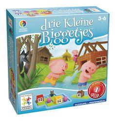 Een leuk denkspelletje voor jonge kinderen! De grote puzzelstukken moeten passen zodat de drie biggetjes veilig zitten.