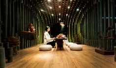 These bamboo interiors take advantage of a sustainable, plentiful, locally grown material and stretch it to its limits with incredibly complex designs.