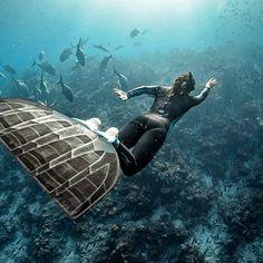 Um länger & mehr,das Meer zu genießen, wünsch ich mir, die Flossen, würden mir sprießen..
