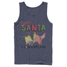 Men's Nickelodeon SpongeBob SquarePants Santa I Can Explain Graphic Tank Top, Size: XL, Blue