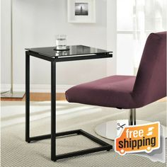 TV Dinner Tray Snack Eating Table C Shape Side Accent Stand Modern Glass Tables
