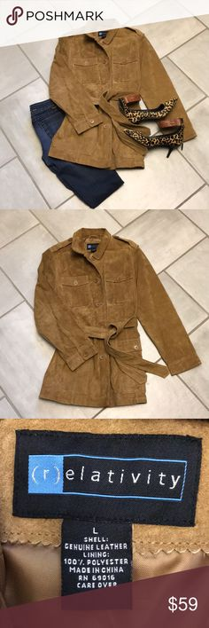 """Suede Trench Coat BEAUTIFUL! Relativity Tan Suede Trench Coat in almost perfect condition. Just a little wear around the collar as depicted in pictures. Lots of pockets including one in inside lining. Length from top shoulder to bottom is 32""""...I'm 5'4"""" and it falls just below my bum. Relativity Jackets & Coats Trench Coats"""