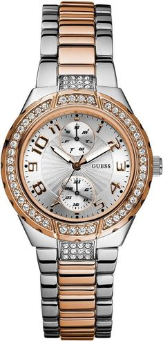 #Guess #Watch , GUESS Women's U13586L2 Status In-the-Round Rose Gold-Tone and Steel Watch