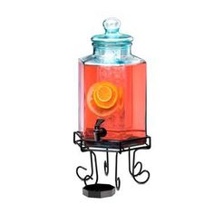 Cal-Mil 1111 Octagonal Glass Beverage Dispenser 2 Gallons W/ Wire Base - Recycled Glass W/ Ice Core