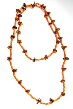 Ethnic Coconut Shell Necklace - Brand New - Handmade - New Style - ORANGE - 64in