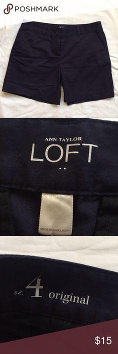 "Dark blue Ann Taylor LOFT shorts Ann Taylor LOFT dark blue shorts in size 4 original. Casual lightweight shorts. Waist 32"" inseam 6"". Ann Taylor LOFT Shorts"
