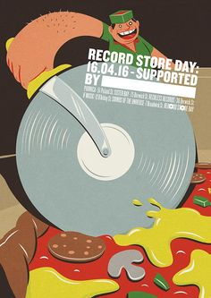Record Store Day Poster from Soho London - Pizza by Toby Leigh