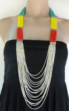 Handmade jewelry, Handcrafted colorful necklace, summer necklace, multi strand seed beads necklace, red, turquoise, yellow, white seed beads. $38.00, via Etsy.