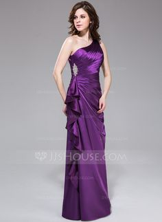Sheath/Column One-Shoulder Floor-Length Charmeuse Evening Dress With Beading Cascading Ruffles (007037308)