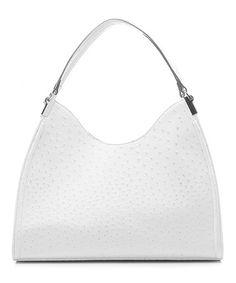 Another great find on #zulily! White Ostrich Irene Shoulder Bag by emilie m. #zulilyfinds