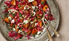 Yotam Ottolenghi's roast sweet potatoes with pickled onions, coriander and goat's cheese.