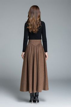 Womnes skirts, maxi wool skirt for winter 1642 **DETAIL**❤brown wool fabric❤full lining❤Maxi skirt❤Hidden zipper in the right side❤ Pleated detail SIZE GUIDEAvailable in women's US sizes 2 to as well as Long Wool Skirt, Wool Skirts, Long Skirt Outfits, Long Skirt Hijab, Long Skirts For Women, Vintage Rock, Vintage Winter, Winter Skirt, Winter Maxi