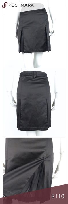 Alexander McQueen Skirt satin a-line skirt by alexander mcqueen. circa late 1990's/early 2000's. low rise fit. wide box pleats reveal pleated chiffon panels. triple belt loops at waistband. hidden   fabrication: polyester/cotton/elastane Alexander McQueen Dresses Midi