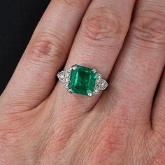 4.18 Carat Art Deco Emerald and Diamond Ring - 30-1-5386 - Lang Antiques