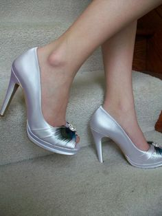 Platform Peacock 4 Inch Ivory Satin Shoes Available In by Parisxox, $162.00