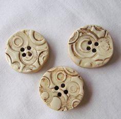 Round Cream and Brown Textured Pottery Button by CenteredClayWorks, $7.50