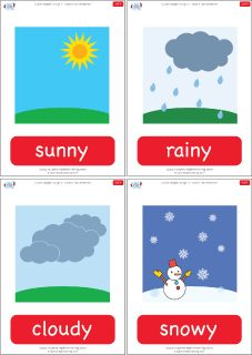 Weather flashcards for the Super Simple Learning song How's The Weather? #preK #Kindergarten #ESL