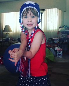 Here's Ava in her #4thofjuly hat. #crochet #granddaughter