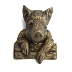 """Pig Door Knocker With Hardware. This pig casually leans on a fence to say, """"Greetings and salutations,"""" to anyone who enters your home. The head pivots to act as the knocker against the fence strike plate. Knobs And Knockers, Door Knobs, Door Handles, Grand Entrance, Entrance Ways, Pomellato, Antique Pewter, Home Hardware, Light Switch Covers"""