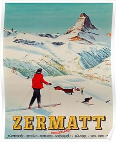 Zermatt, Switzerland Ski Poster (Schol, Vintage ski lithograph in colours printed in 1947 by J C Muller AG, Zurich to promote high alpine skiing in the premier Swiss resort of Zermatt in the lee of the Matterhorn. Ski Vintage, Vintage Ski Posters, Nordic Skiing, Alpine Skiing, Alpine Ski Resort, Zermatt, La Provence France, Evian Les Bains, Fürstentum Liechtenstein