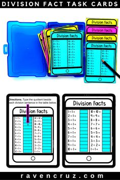 Division Fact Practice Cards - Classroom and Digital Distance Learning Multiplication Facts Practice, Math Facts, Fluency Practice, Math Classroom, Classroom Activities, Future Classroom, Google Classroom, Classroom Ideas, Common Core Math Standards