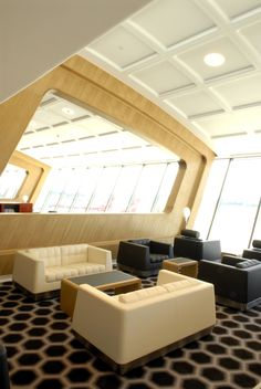 Marc Newson Ltd Qantas First Class Lounge, Sydney 2007 - Qantas Airways Airport Design, Airport Lounge, Corporate Design, Home Projects, Luxury Homes, Boat House, Work Spaces, Interior Design, Jets