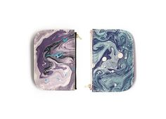 Beautiful purple & blue marbled coin purse. The perfect gift for the fashion girl or hostess. Made in Canada, $52.