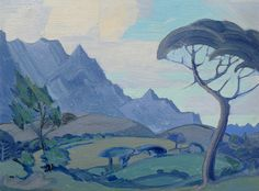 JH PIerneef - Stellenbosch Landscape Sketch Painting, Artist Painting, Landscape Art, Landscape Paintings, Drawing Trees, African Paintings, South African Artists, Praise God, Acrylics