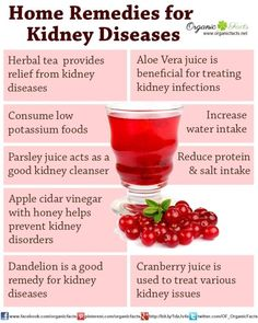 Some of the home remedies for kidney disease include reducing the amount of salt in your diet, eating less potassium, lowering your amount of protein intake, as well as parsley juice, Aloe Vera juice, cranberry juice, apple cider vinegar, herbal tea, Buchu, and Barberry. These are some of the most well-known and trusted ways to treat various kidney diseases.