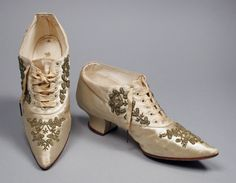 Pair of woman's wedding oxford shoes, made in the United States, c.1890